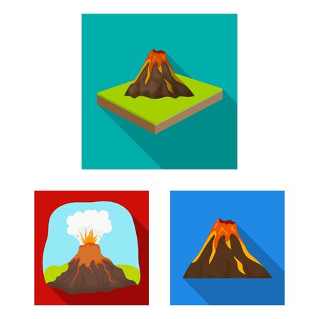 Isolated object of volcano and lava icon. Collection of volcano and magma stock symbol for web.