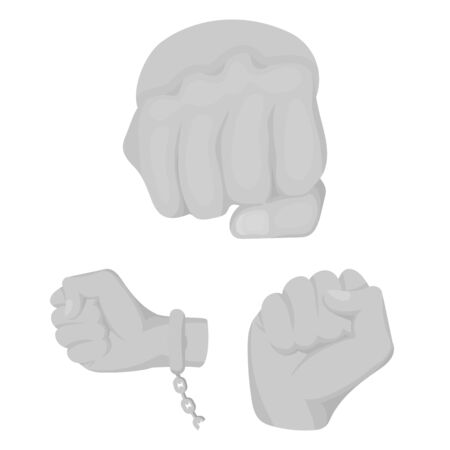 Isolated object of fist and punch icon. Set of fist and hand bitmap icon for stock.
