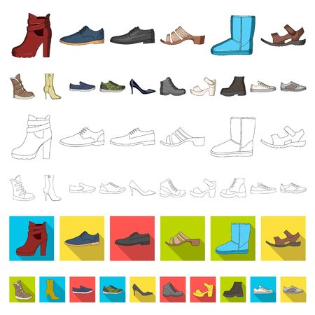 Different shoes cartoon icons in set collection for design. Men s and women s shoes bitmap symbol stock web illustration. Stock Photo