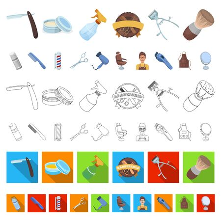 Barbershop and equipment cartoon icons in set collection for design. Haircut and shave bitmap symbol stock web illustration.