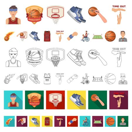 Basketball and attributes cartoon icons in set collection for design.Basketball player and equipment bitmap symbol stock web illustration.