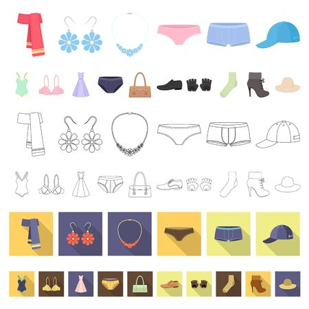 Clothes and accessories cartoon icons in set collection for design. Shoes and decoration bitmap symbol stock web illustration. Standard-Bild