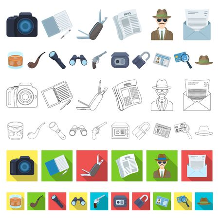 Detective and Attributes cartoon icons in set collection for design.Detective Agency bitmap symbol stock web illustration.