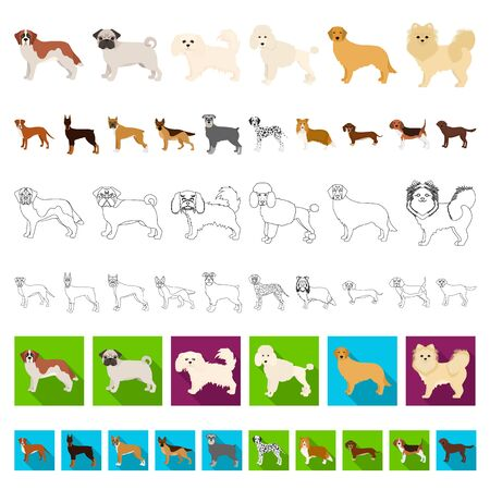 Dog breeds cartoon icons in set collection for design.Dog pet bitmap symbol stock web illustration. Фото со стока - 129942878
