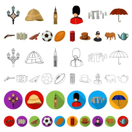 England country cartoon icons in set collection for design.Travel and attractions bitmap symbol stock web illustration.