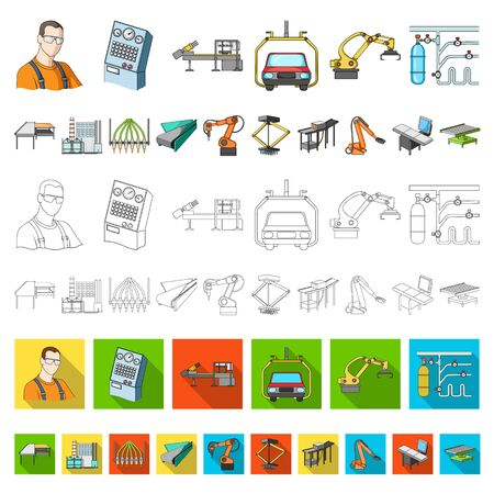 Equipment and machine cartoon icons in set collection for design.Technical progress of the factory bitmap symbol stock web illustration.