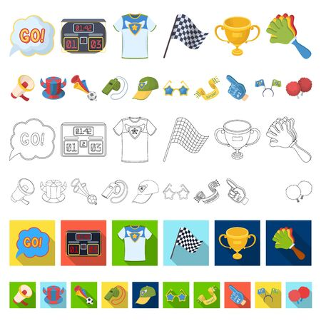 Fan and Attributes cartoon icons in set collection for design. Sports Fan bitmap symbol stock web illustration. Zdjęcie Seryjne