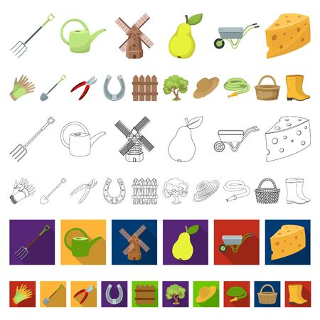 Farm and gardening cartoon icons in set collection for design. Farm and equipment bitmap symbol stock web illustration. Zdjęcie Seryjne