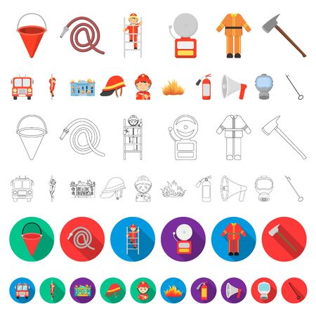 Fire Department cartoon icons in set collection for design. Firefighters and equipment bitmap symbol stock web illustration.