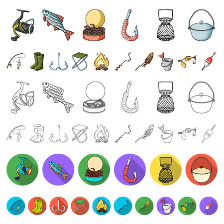 Fishing and rest cartoon icons in set collection for design. Tackle for fishing bitmap symbol stock web illustration.