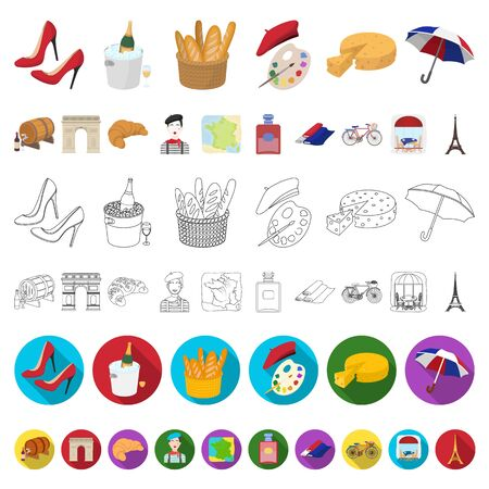 Country France cartoon icons in set collection for design. France and landmark bitmap symbol stock web illustration.