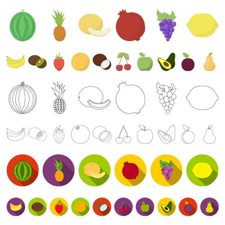 Different fruits cartoon icons in set collection for design. Fruits and vitamins bitmap symbol stock web illustration.