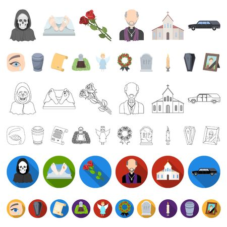 Funeral ceremony cartoon icons in set collection for design. Funerals and Attributes bitmap symbol stock web illustration. Фото со стока