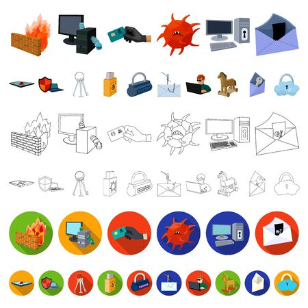 Hacker and hacking cartoon icons in set collection for design. Hacker and equipment bitmap symbol stock web illustration.