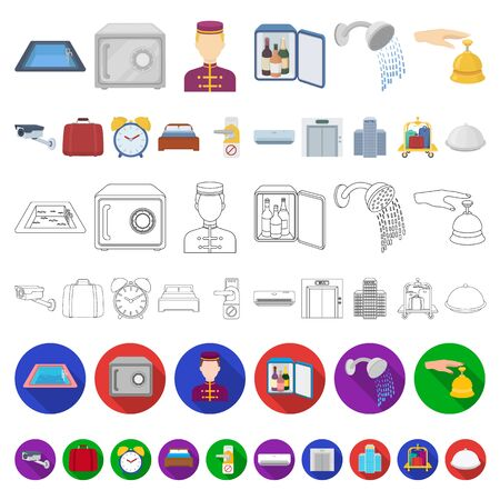 Hotel and equipment cartoon icons in set collection for design. Hotel and comfort bitmap symbol stock web illustration. Reklamní fotografie