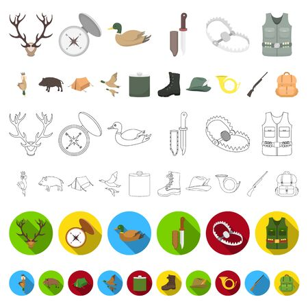 Hunting and trophy cartoon icons in set collection for design. Hunting and equipment bitmap symbol stock web illustration.