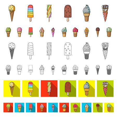 Different ice cream cartoon icons in set collection for design. Dessert and sweetness bitmap symbol stock web illustration. Imagens - 129944390