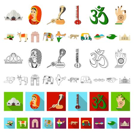 Country India cartoon icons in set collection for design.India and landmark bitmap symbol stock web illustration.