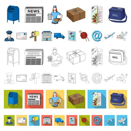 Mail and postman cartoon icons in set collection for design. Mail and equipment bitmap symbol stock web illustration.