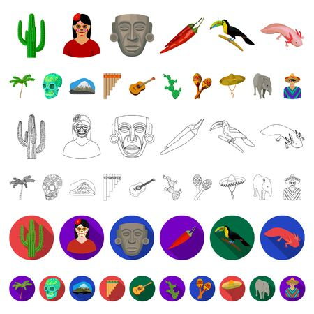Country Mexico cartoon icons in set collection for design. Mexico and landmark bitmap symbol stock web illustration.