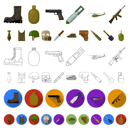 Army and armament cartoon icons in set collection for design. Weapons and equipment bitmap symbol stock web illustration. 写真素材
