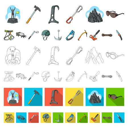 Mountaineering and climbing cartoon icons in set collection for design. Equipment and accessories bitmap symbol stock web illustration.