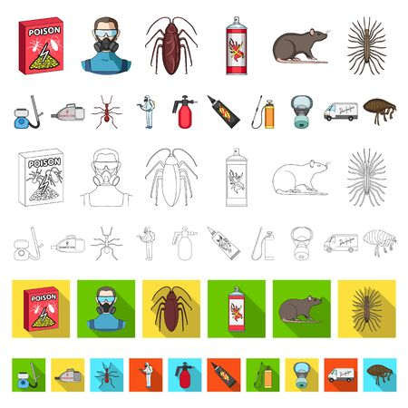 Pest, poison, personnel and equipment cartoon icons in set collection for design. Pest control service bitmap symbol stock web illustration.