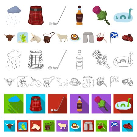 Country Scotland cartoon icons in set collection for design. Sightseeing, culture and tradition bitmap symbol stock web illustration. Stockfoto