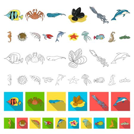 A variety of marine animals cartoon icons in set collection for design. Fish and shellfish bitmap symbol stock web illustration. 写真素材 - 133303111