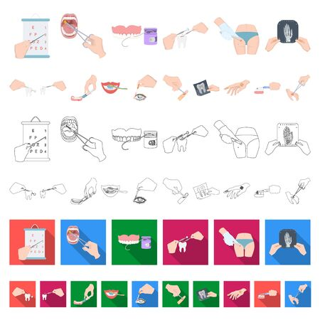 Manipulation by hands cartoon icons in set collection for design. Hand movement in medicine bitmap symbol stock web illustration.