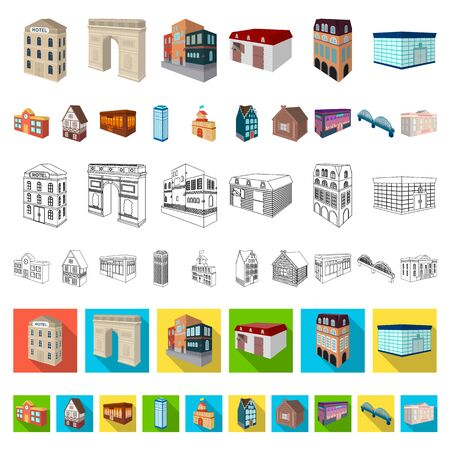 Building and architecture cartoon icons in set collection for design.The building and dwelling bitmap isometric symbol stock web illustration.