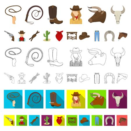 Rodeo, competition cartoon icons in set collection for design. Cowboy and equipment bitmap symbol stock web illustration. Stock Photo