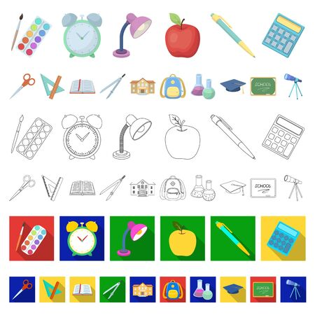 School and education cartoon icons in set collection for design.College, equipment and accessories bitmap symbol stock web illustration. 스톡 콘텐츠