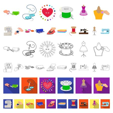 Atelier and equipment cartoon icons in set collection for design. Sewing of outer clothing bitmap symbol stock web illustration.