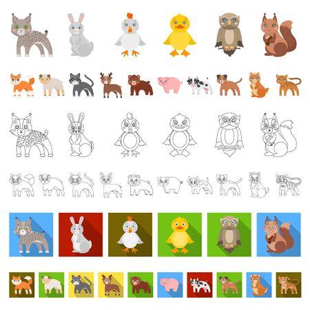 Toy animals cartoon icons in set collection for design. Bird, predator and herbivore bitmap symbol stock web illustration. Фото со стока