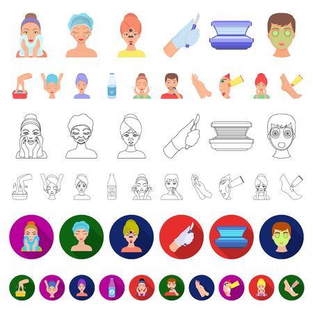 Skin care cartoon icons in set collection for design. Face and body bitmap symbol stock web illustration. Archivio Fotografico - 133306978