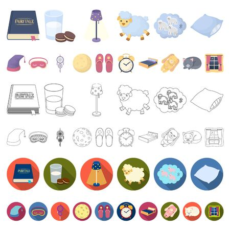 Rest and sleep cartoon icons in set collection for design. Accessories and comfort bitmap symbol stock web illustration. Banco de Imagens