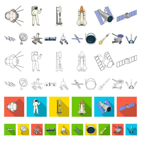 Space technology cartoon icons in set collection for design.Spacecraft and equipment bitmap symbol stock web illustration. 스톡 콘텐츠 - 133306982