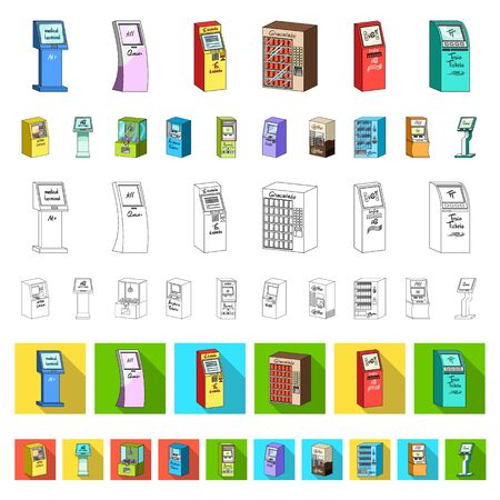 Variety of terminals cartoon icons in set collection for design. ATM and trading device bitmap symbol stock web illustration.