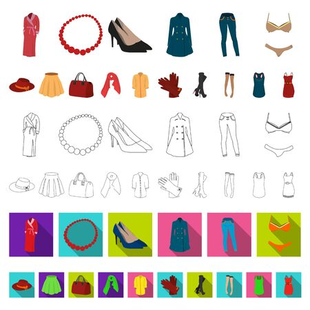 Womens Clothing cartoon icons in set collection for design.Clothing Varieties and Accessories bitmap symbol stock illustration.