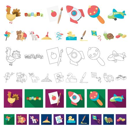 Children s toy cartoon icons in set collection for design. Game and bauble bitmap symbol stock illustration.
