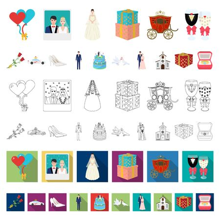 Wedding and Attributes cartoon icons in set collection for design. Newlyweds and Accessories bitmap symbol stock web illustration.