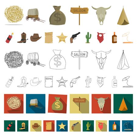 Attributes of the wild west cartoon icons in set collection for design.Texas and America bitmap symbol stock web illustration.