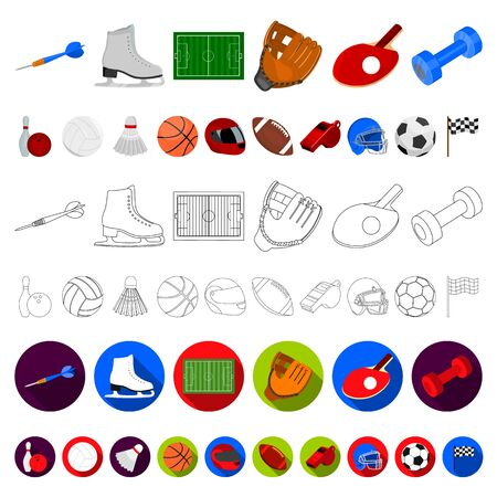 Different kinds of sports cartoon icons in set collection for design. Sport equipment bitmap symbol stock web illustration.