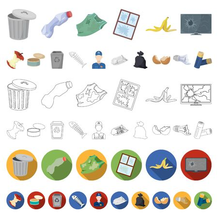Garbage and waste cartoon icons in set collection for design. Cleaning garbage bitmap symbol stock web illustration.