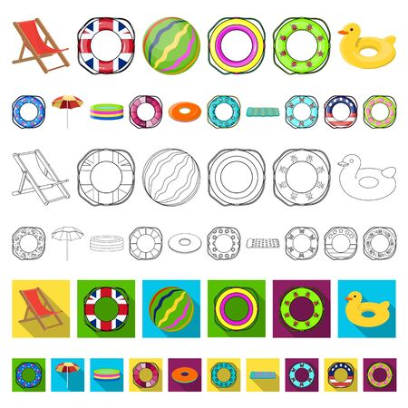 Multicolored swimming circle cartoon icons in set collection for design. Different lifebuoys bitmap symbol stock web illustration.