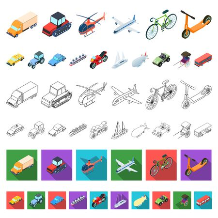 Different types of transport cartoon icons in set collection for design. Car and ship isometric bitmap symbol stock web illustration. Stock fotó