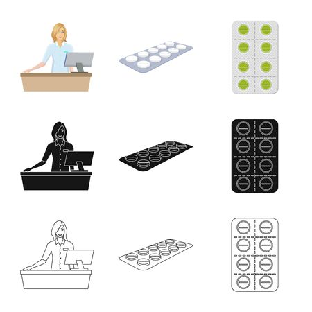 Vector design of retail and healthcare. Set of retail and wellness vector icon for stock.