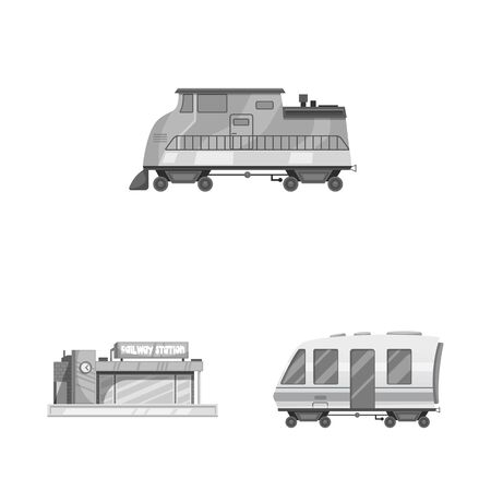 bitmap design of train and station. Set of train and ticket stock symbol for web. Stock Photo