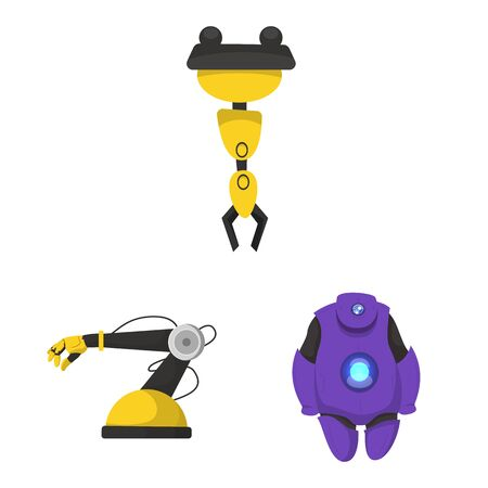 bitmap illustration of robot and factory. Set of robot and space stock symbol for web.